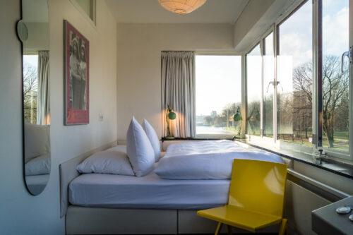 SWEETS hotel Amsterdam Noord_bridge house 101 Gerben Wagenaarbrug_interior bedroom on second floor_ed van der elsken art