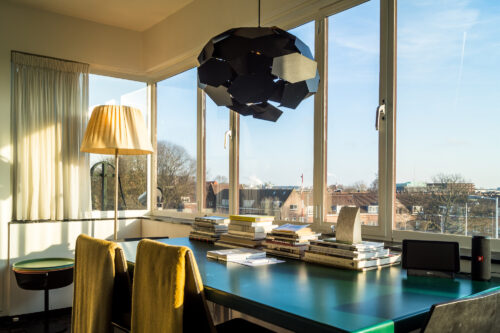 Interior and view of the top floor of SWEETS hotel's bridge house Gerben Wagenaarbrug in Amsterdam Noord
