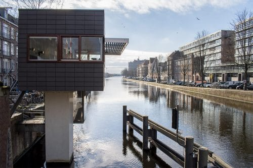 Photo of SWEETS hotel Amsterdam West Zeilstraatbrug bridge house exterior neighborhood canal view