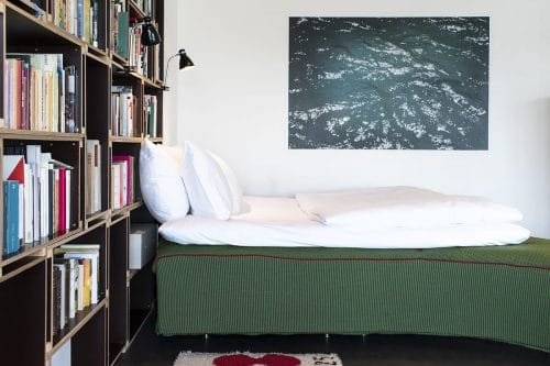 Photo of SWEETS hotel Amsterdam bridge house 211 Sluis Haveneiland IJburg bedroom bed art dutch design Pieke Bergmans