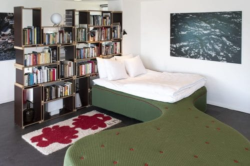 Photo of SWEETS hotel Amsterdam bridge house 211 Sluis Haveneiland IJburg bedroom, Dutch design bed by Pieke Bergmans