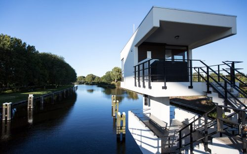 Exterior and surroundings of SWEETS hotel's bridge house 102 Meeuwenpleinbrug in Amsterdam Noord