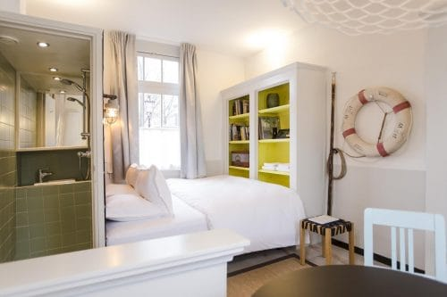 SWEETS hotel Scharrebiersluis bridge house on Amsterdam canals - monumental closet with Gispen design interior